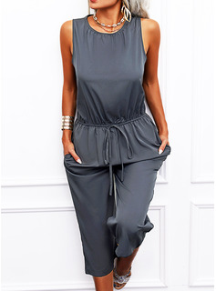 Solid A-line Round Neck Sleeveless Midi Casual Jumpsuits Dresses