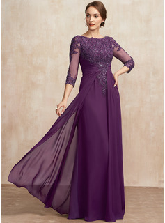 A-Line Scoop Neck Floor-Length Chiffon Lace Evening Dress With Beading Sequins