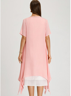 Linen With Resin solid color/Crumple Midi Dress (Two Pieces )