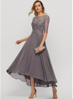 Scoop Neck Asymmetrical Chiffon Evening Dress With Beading Sequins