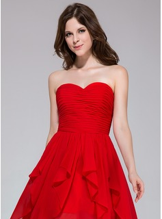 A-Line/Princess Sweetheart Asymmetrical Chiffon Holiday Dress With Cascading Ruffles