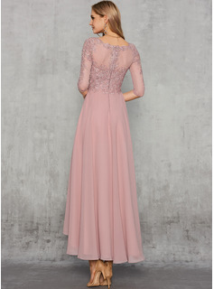 A-Line V-neck Asymmetrical Chiffon Evening Dress With Sequins