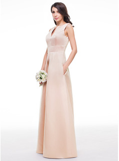 V-neck Floor-Length Satin Bridesmaid Dress With Ruffle