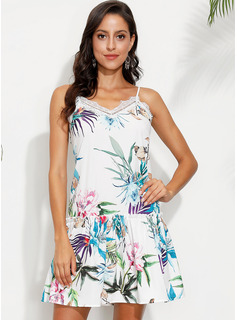 Polyester With Lace/Print Above Knee Dress