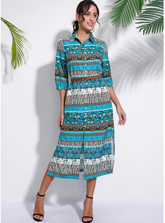 Polyester With Button/Print/Slit Maxi Dress