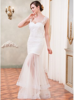Trumpet/Mermaid Sweetheart Floor-Length Tulle Lace Wedding Dress With Ruffle Beading Flower(s)