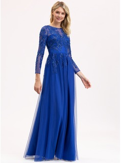 Scoop Neck Floor-Length Tulle Lace Evening Dress With Sequins
