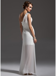 Sheath/Column One-Shoulder Floor-Length Chiffon Prom Dress With Ruffle Beading