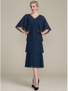 A-Line/Princess V-neck Tea-Length Chiffon Mother of the Bride Dress With Cascading Ruffles