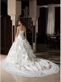 Ball-Gown Sweetheart Royal Train Satin Wedding Dress With Embroidered Ruffle Beading