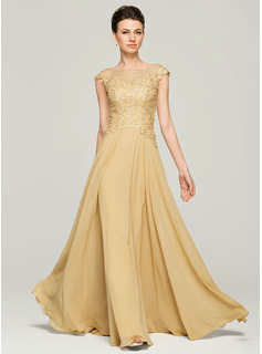 A-Line Scoop Neck Floor-Length Chiffon Lace Mother of the Bride Dress With Beading Sequins