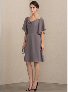 Cowl Neck Knee-Length Chiffon Mother of the Bride Dress With Crystal Brooch