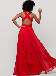 V-neck Floor-Length Chiffon Evening Dress With Bow(s)