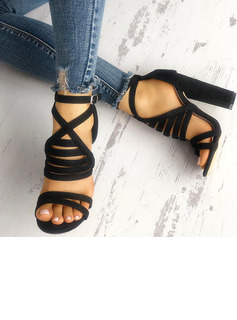 Women's Suede Sandals Pumps Peep Toe With Buckle shoes