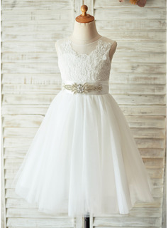 Knee-length Flower Girl Dress - Tulle Lace Sleeveless With Appliques Bow(s) Rhinestone