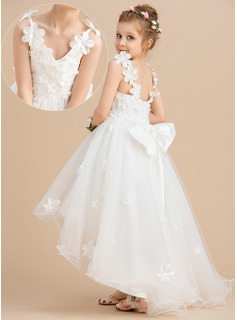Ball-Gown/Princess Asymmetrical Flower Girl Dress - Tulle Sleeveless V-neck With Beading Flower(s) Bow(s)