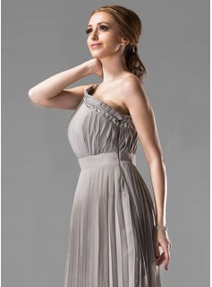 Empire One-Shoulder Floor-Length Chiffon Bridesmaid Dress With Beading Pleated