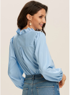 Long Sleeves Puff Sleeves Polyester V Neck Ruffle Blouses Blouses