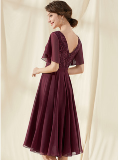 A-Line V-neck Knee-Length Chiffon Lace Bridesmaid Dress With Sequins