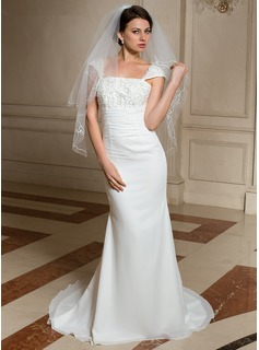 Two-tier Cut Edge Elbow Bridal Veils With Embroidery