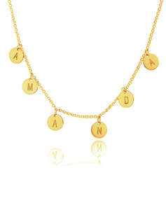 Custom 18k Gold Plated Silver Letter Initial Necklace Circle Necklace - Birthday Gifts Mother's Day Gifts