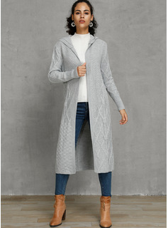 Cable-knit Solid Polyester Hooded Cardigans Sweaters