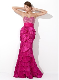 Trumpet/Mermaid Sweetheart Floor-Length Taffeta Prom Dresses With Beading Sequins Pleated