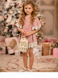 Knee-length Flower Girl Dress - Satin Lace Short Sleeves Scoop Neck