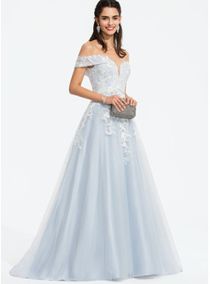 Ball-Gown/Princess Off-the-Shoulder Sweep Train Tulle Prom Dresses With Sequins