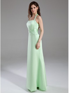 A-Line/Princess Halter Floor-Length Satin Bridesmaid Dress With Ruffle Crystal Brooch