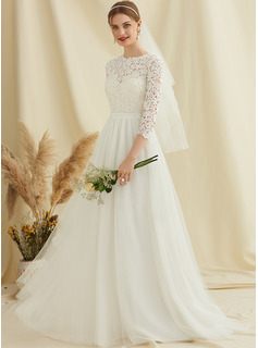 Scoop Neck Sweep Train Tulle Lace Wedding Dress