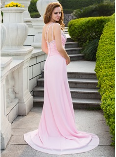 Trumpet/Mermaid One-Shoulder Court Train Chiffon Prom Dresses With Ruffle Beading Split Front