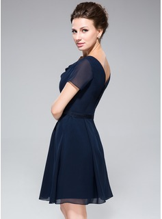 Chiffon Cowl-neck Knee-length Bridesmaid Dress With A Charmeuse Waistband