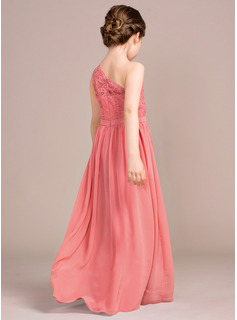 A-Line One-Shoulder Floor-Length Chiffon Lace Junior Bridesmaid Dress