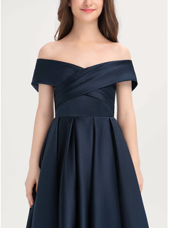 Off-the-Shoulder Tea-Length Satin Junior Bridesmaid Dress With Ruffle Pockets