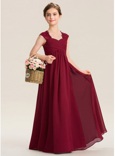 Empire Sweetheart Floor-Length Chiffon Lace Junior Bridesmaid Dress With Ruffle