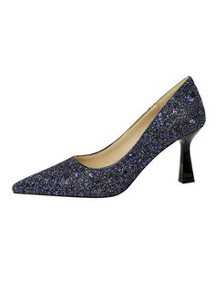 Women's PU Cone Heel Pumps With Sparkling Glitter shoes