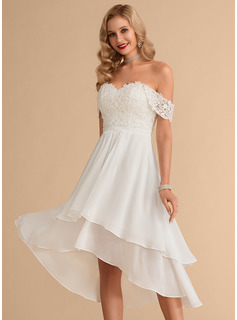 Off-the-Shoulder Asymmetrical Chiffon Lace Wedding Dress With Beading Sequins