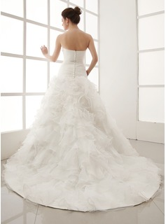 Ball-Gown Sweetheart Chapel Train Satin Organza Wedding Dress With Crystal Brooch Cascading Ruffles