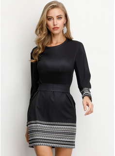 Polyester With Stitching/Solid Above Knee Dress