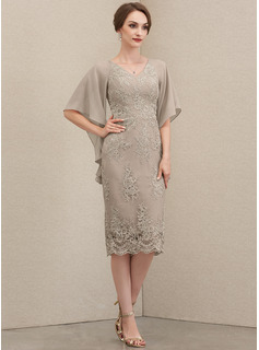 Sheath/Column V-neck Knee-Length Chiffon Lace Mother of the Bride Dress With Cascading Ruffles
