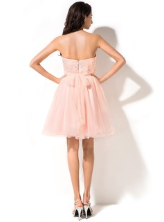 Empire Sweetheart Short/Mini Tulle Homecoming Dress With Beading Sequins Bow(s)