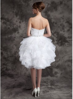 A-Line/Princess Sweetheart Knee-Length Satin Organza Wedding Dress With Beading Sequins Cascading Ruffles
