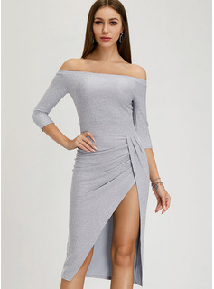 Polyester With Sequins/Solid/Slit Midi Dress