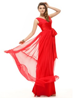 A-Line/Princess V-neck Floor-Length Chiffon Holiday Dress With Ruffle Bow(s)
