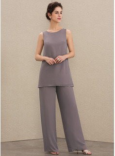 Scoop Neck Floor-Length Chiffon Mother of the Bride Dress