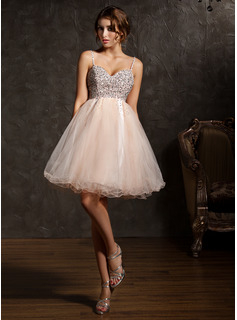 Empire Sweetheart Knee-Length Tulle Homecoming Dress With Beading Sequins