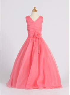 A-Line/Princess Floor-length Flower Girl Dress - Organza Sleeveless V-neck With Flower(s)