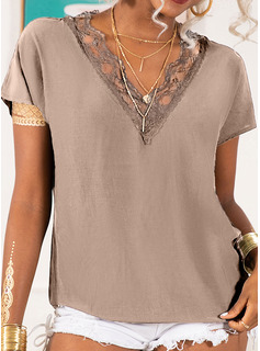 Regular Rayon V-Neck Lace Solid L S M XL XXL Blouses