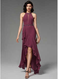 Trumpet/Mermaid Scoop Neck Asymmetrical Chiffon Evening Dress With Beading Sequins